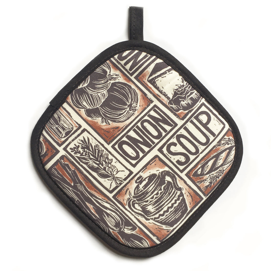 French Onion Soup illustrated recipe pot holder lino cut by Kate Guy