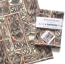 Load image into Gallery viewer, French onion soup recipe napkins, set of four, lino cut print by Kate Guy