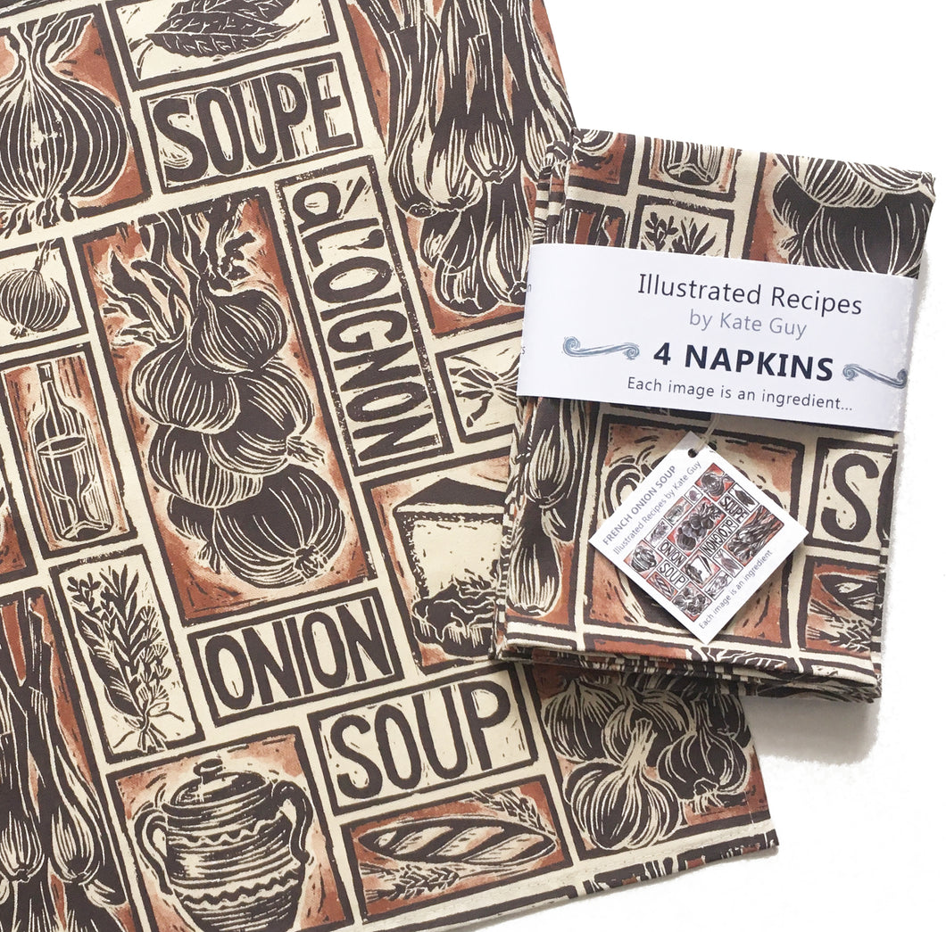 French onion soup recipe napkins, set of four, lino cut print by Kate Guy