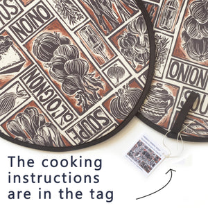 PAIR of French Onion Soup Illustrated Recipe Cooker Hob Covers