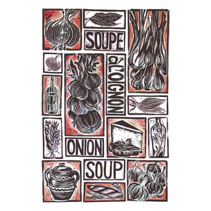 French Onion Soup Illustrated Recipe Greetings Card by Kate Guy each image is an ingredient and the cooking instructions are on the back