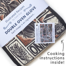 Load image into Gallery viewer, French Onion Soup illustrated recipe organic cotton double oven glove lino cut by Kate Guy