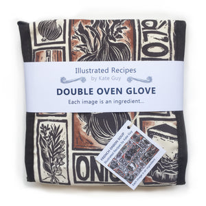 French Onion Soup illustrated recipe organic cotton double oven glove lino cut by Kate Guy