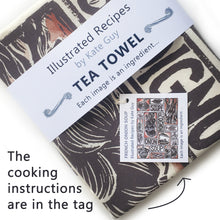 Load image into Gallery viewer, French Onion Soup illustrated recipe organic cotton tea towel lino cut by Kate Guy