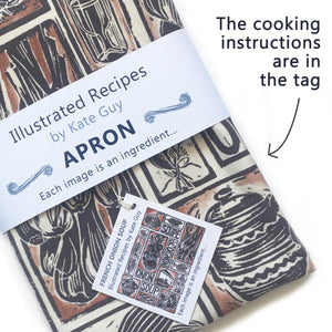 French Onion Soup illustrated recipe organic cotton apron lino cut by Kate Guy