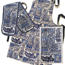 Load image into Gallery viewer, Fish Soup illustrated recipe gift set with tea towel adult apron and double oven glove with large pocket, comes with cooking instructions. lino cut print by Kate Guy