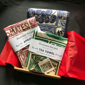 Gift Set Tea Towel  Apron and Double Oven Glove illustrated recipes Simple Soups mix and match Kate Guy Prints