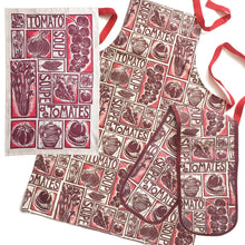 Load image into Gallery viewer, tomato soup illustrated recipe gift set tea towel apron and oven gloves lino cuts by Kate Guy Prints