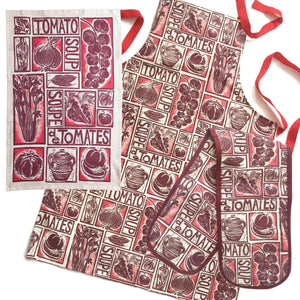 tomato soup illustrated recipe gift set tea towel apron and oven gloves lino cuts by Kate Guy Prints