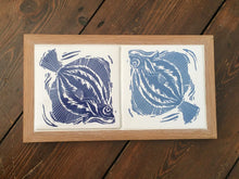 Load image into Gallery viewer, Plaice handmade ceramic double tile framed trivet; Prussian Blue and Pale Smoke Blue, screen printed with lino cut by Kate Guy