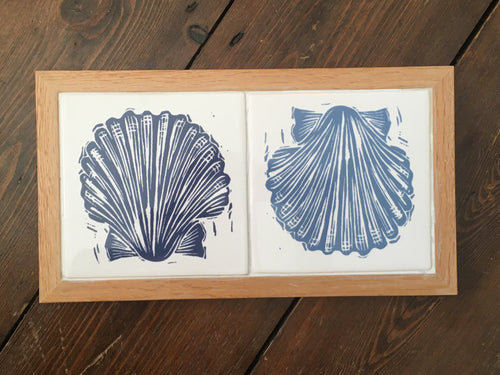 Scallop Shell Handmade tile trivet, table centrepiece. Linocut print of scallop shells on two tiles framed in English oak