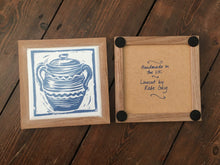 Load image into Gallery viewer, Casserole framed Tile Trivet lino cut by Kate Guy