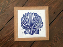 Load image into Gallery viewer, Scallop shell framed tile trivet in Prussian blue lino cut print by Kate Guy
