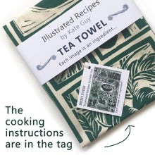 Load image into Gallery viewer, Irish Stew Illustrated Recipe tea towel lino cut by Kate Guy