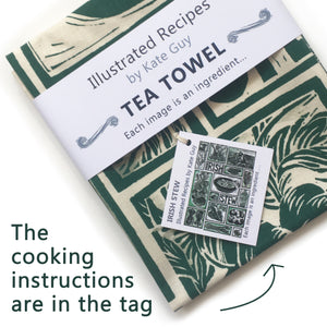 Irish Stew Illustrated Recipe tea towel lino cut by Kate Guy