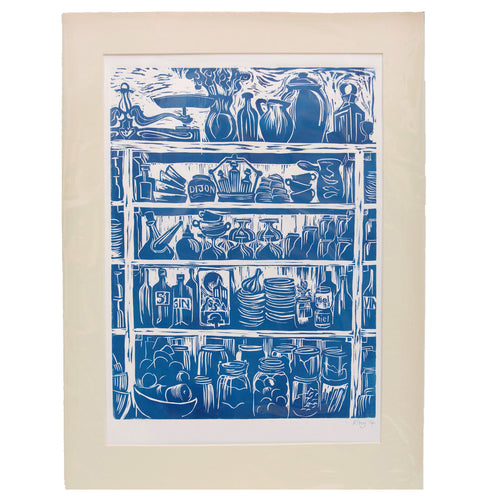 French Country Kitchen Linocut Print Shelves of Home Grown Produce and Kitchen Equipment Printed in a French Blue