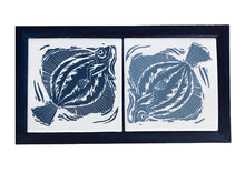 Load image into Gallery viewer, Two handmade Tiles Printed with Linocut Prints of Fish Framed in English Oak, Trivet by Kate Guy
