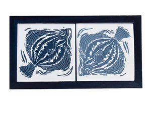 Two handmade Tiles Printed with Linocut Prints of Fish Framed in English Oak, Trivet by Kate Guy