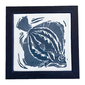 Linocut Print of a Plaice on a handmade tile framed in English Oak by Kate Guy in Dark blue