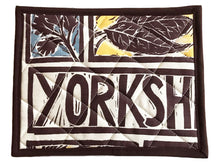Load image into Gallery viewer, Handmade Pot Holder Linocut Print Yorkshire Steak And Ale Pie Recipe