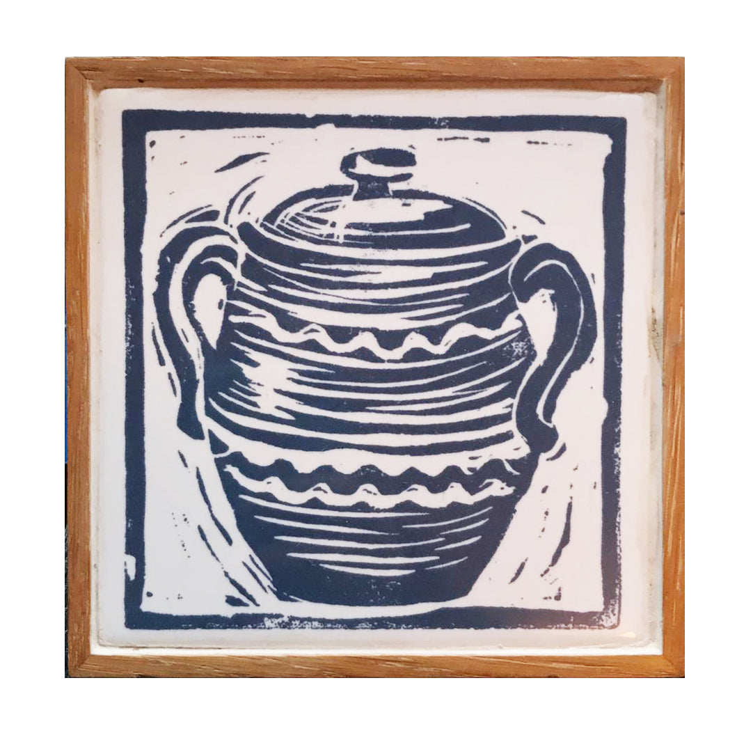 Linocut Print of Casserole Pot Printed on Handmade Tile Trivet