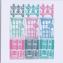 Load image into Gallery viewer, Kate Guy Prints Primrose Hill pastel shades lino cut greetings card