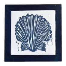 Load image into Gallery viewer, Linocut Print of Scallop Shell Printed on Handmade Tile Framed in Dark Blue Oak - Trivet by Kate Guy