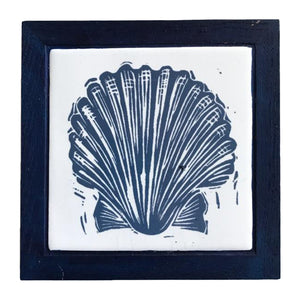 Linocut Print of Scallop Shell Printed on Handmade Tile Framed in Dark Blue Oak - Trivet by Kate Guy
