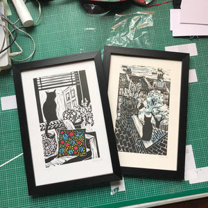 Kate Guy Prints Limited edition linocuts Lockdown Cats Framed