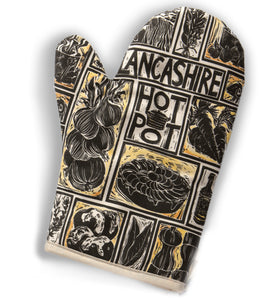 Oven Mitt Printed With Illustration Of Recipe For Lancashire Hot Pot Lino Cut Print