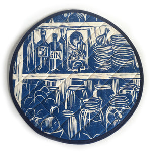 French Country Kitchen Linocut Print on Cooker Hob Cover by Kate Guy Prints Last One SALE
