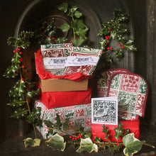 Load image into Gallery viewer, Christmas gift set The twelve days of christmas lino printed textiles by Kate Guy Prints