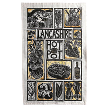 Load image into Gallery viewer, Lancashire Hot pot illustrated recipe tea towel lino cut by Kate Guy
