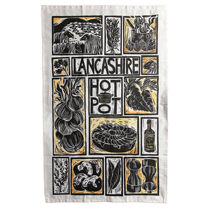 Lancashire Hot pot illustrated recipe tea towel lino cut by Kate Guy