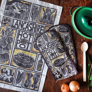 Lancashire Hot pot illustrated recipe tea towel and oven gloves set,lino cut by Kate Guy with cooking instructions in the tag