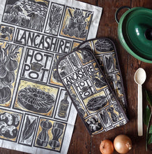 Load image into Gallery viewer, Lancashire Hot pot illustrated recipe gift set tea towel and oven gloves by Kate Guy Prints