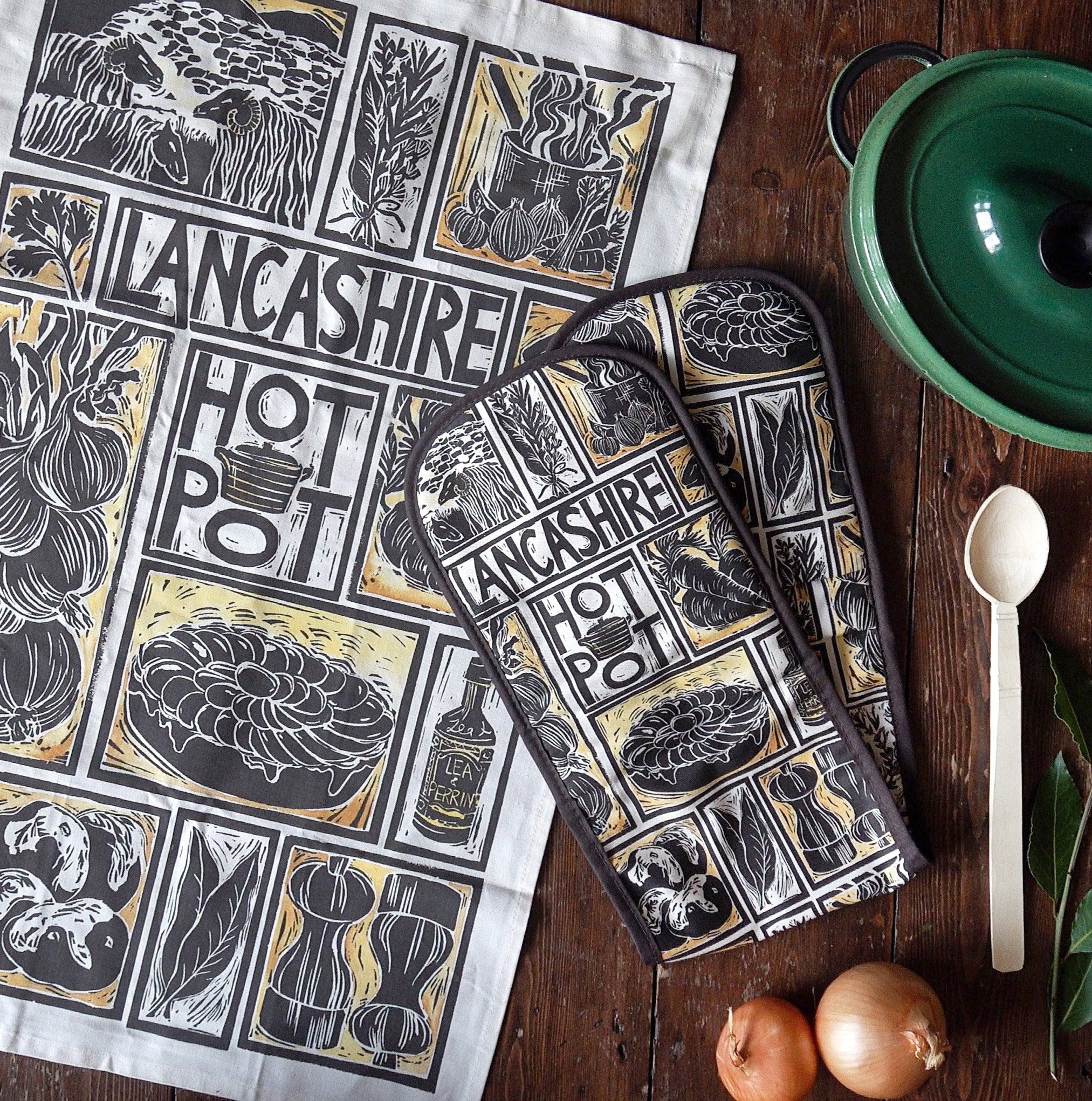 Lancashire Hot Pot Gift Set Tea Towel Double Oven Glove And Greetin Kate Guy Prints