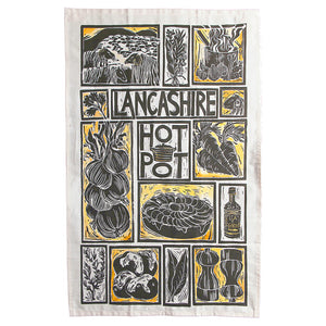 Lancashire Hot pot illustrated recipe tea towel lino cut by Kate Guy with cooking instructions in the tag