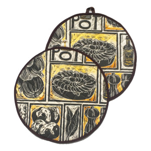 Lancashire Hot Pot Linocut Print on Cooker Hob Cover by Kate Guy Prints Last One SALE