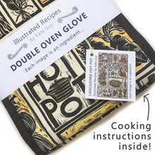 Load image into Gallery viewer, Lancashire Hot pot illustrated recipe double oven glove lino cut by Kate Guy with cooking instructions in the tag