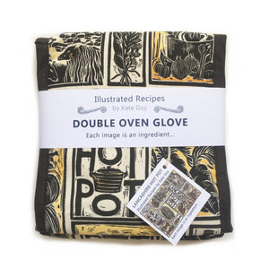 Lancashire Hot pot illustrated recipe double oven glove lino cut by Kate Guy with cooking instructions in the tag