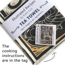 Load image into Gallery viewer, Lancashire Hot pot illustrated recipe tea towel lino cut by Kate Guy with cooking instructions in the tag