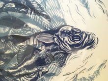 Load image into Gallery viewer, Large Fish platter decorated with lino cut of fish in blue and black by Kate Guy
