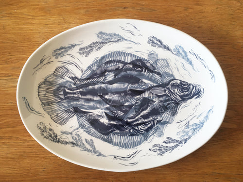 Large Fish platter decorated with lino cut of fish in blue and black by Kate Guy