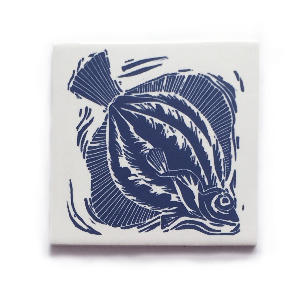Plaice fish handmade tile in blue on cream, lino cut print by Kate Guy