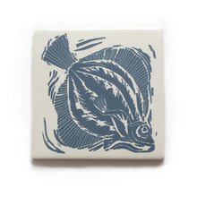 Load image into Gallery viewer, Plaice fish handmade tile in pale blue on cream, lino cut print by Kate Guy