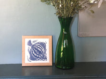 Load image into Gallery viewer, Plaice handmade framed tile trivet lino cut by Kate Guy in dark blue