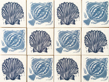 Load image into Gallery viewer, Handmade tiles lino cuts by Kate Guy Scallop Sardines and Plaice