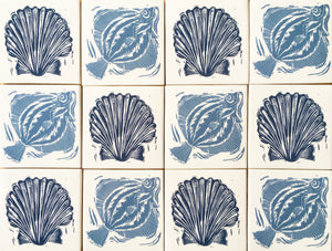 Handmade tiles lino cuts by Kate Guy Scallop Sardines and Plaice
