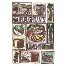 Load image into Gallery viewer, Kate Guy Prints Ploughman's Lunch Illustrated recipe Linocut greetings card